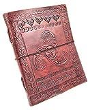 Kooly Zen - Carnet, bloc notes, journal, livre, cuir véritable, vintage, double Triskel, 13cm X 17cm, Papier premium