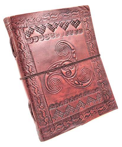 Chic & Zen–Cuaderno, bloc Note, diario, libro, piel auténtica, Vintage, Triskel, 13cm x 17cm)