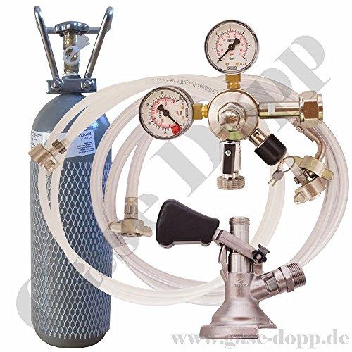 2 kg Co2 Flasche + C02 Druckminderer 1 leitig 3 Bar + Bier und CO2 Schlauch + Flach Keg - im Set für Bier Zapfanlagen / Durchlaufkühler / CO2 Flasche von Gase Dopp