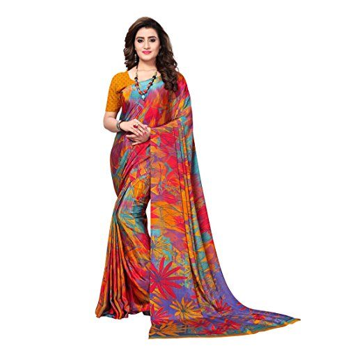 Kanchnar Women's Yellow Crepe Printed Saree (715S1022)