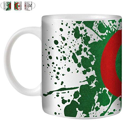 STUFF4 Tasse de Café/Thé 350ml/Algérie/Drapeau Splat Pays/Céramique Blanche/ST10