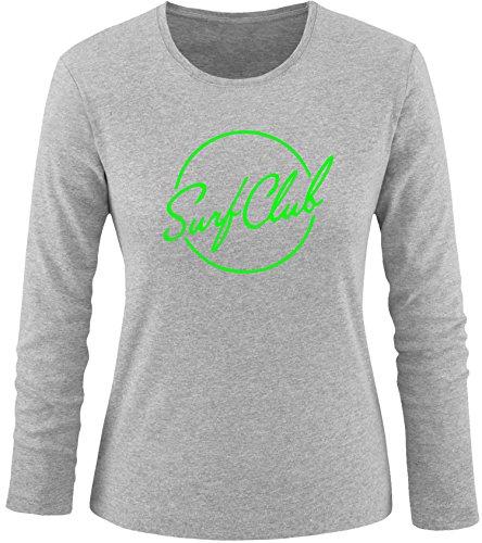 EZYshirt® Surfclub Damen Longsleeve Grau/Neongrün