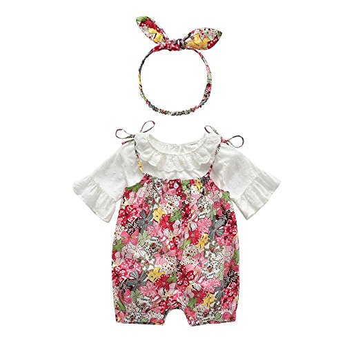Baumwolle Gewebte Hose (QTONGZHUANG Kinderanzug europäischen und Amerikanischen Mädchen Baumwolle Gewebte Puppen Shirts Floral Riemen Shorts Haarband dreiteilig, 95cm)