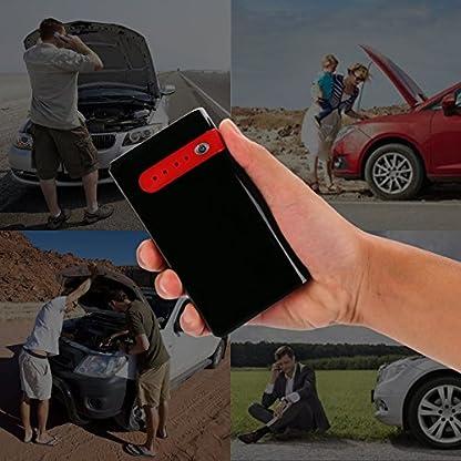 51Dz%2BZG4opL. SS416  - Arrancador de Coche Portatil 10000mAh 500A Jump Starter Power Bank Arrancador de Moto Arranque para 12V 2.5L Gasolina Batería Externa Recargable, LED Flashlight, Multifunción con Inteligente Cables