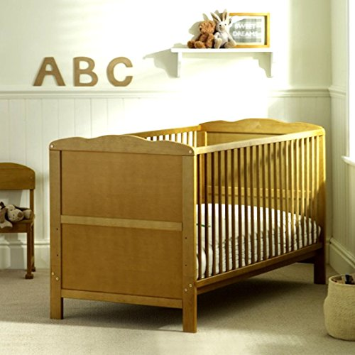 B4Beds© Cot Bed 120x60cm in Country Pine with Luxury Mattress-Converts into Junior/Toddler Bed