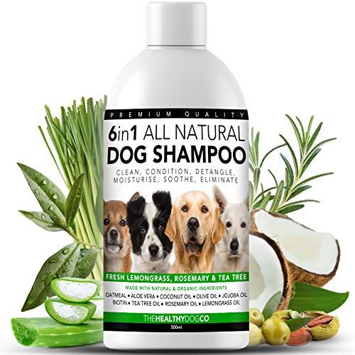 6 in 1 Vollkommen Natürliches Hundeshampoo | Zitronengras, Rosmarin und Teebaumöl | 500ml | Reinigt, Konditioniert, Entwirrt, Befeuchtet, Verhindert Juckreiz, Eliminiert Krankheitskeime und Gerüche