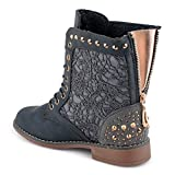 Fusskleidung Damen Boots Gefüttert Spitze Stiefeletten Nieten Schnür Stiefel Hamburg/Grau/leicht gefüttert EU 39