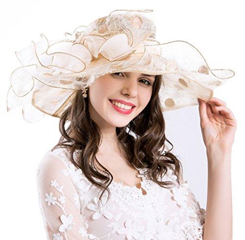 Derby Hüte für Damen Urlaub Organza Fascinator Britische Tee-Party-Hochzeits-Kleid-Kappe Mysterious UPF 50+ Beige (Derby Hut Kleid,)