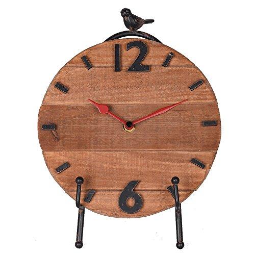 Nikky Home Reloj de mesa con caballete cuarzo analógicos Vintage de diseño y estantería para salón...
