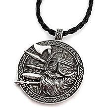 Miss–E–JEWELS–Collar Vintage Plata nórdico vikingo guerrero soldado espada hacha colgante señoras Mens Talisman nórdicos
