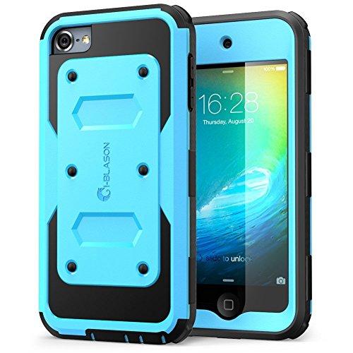 i-Blason iPod Touch 6 / 5 Generation Hülle Bmuper Case 360 Grad Handyhülle Robust Schutzhülle Cover [Armorbox] mit eingebaut Displayschutz und Gürtelclip, Blau (Ipod 5. Generation Case Gelb)