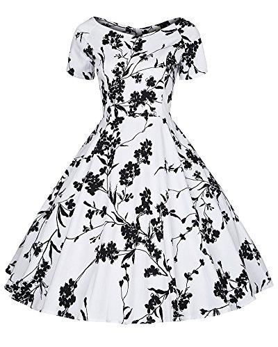 Robe Femme Vintage Robe Plissée Imprimé au Genou Courtes Manches Blanc