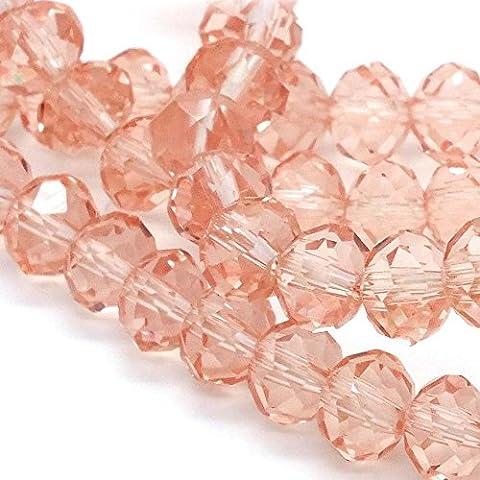 6x 8mm Rondelle Sfaccettato Cristallo Perline di Vetro, Colore: Rosa (Perline Di Cristallo Di Sfaccettatura)