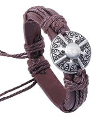 SUYA pulseras,3pcs, pendiente de la aleación antigua escudo, pulsera de piel de vaca, joyería, pulsera creativa, regalos creativos , brown