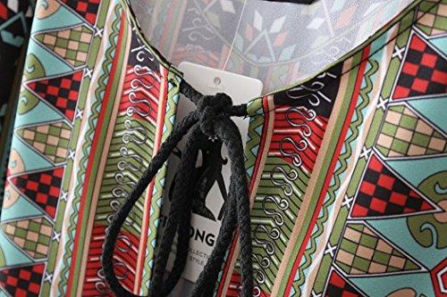 Robes, Malloom® Femmes 3/4 manches motif géométrique Vintage Impression Loose Robe d'été Caractéristiques de l'objet Multicolore