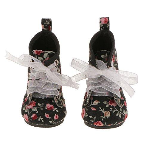 P Prettyia Mode Puppen Schuhe, Winterstiefel, Stiefel Für 18 Zoll Puppen Winter Kostüm Zubehör - schwarz 02, 7cm Trim Slip-ons