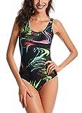 Feoya - Bañador con Escotes para Mujer de Una Pieza Traje de Baño Estampado...