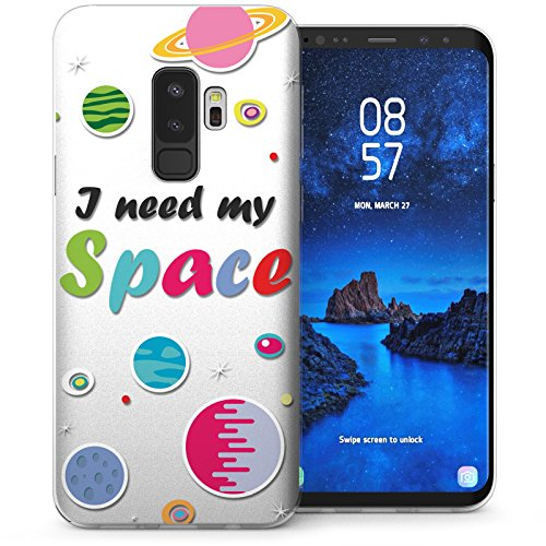 Caseflex For Samsung Galaxy S9 Plus Case, I Need My Space Quirky Slogan  Ultra Slim Gel Cover, Cosmic Planets Mobile Phone Protector - CUV-GS9P-Z325  -