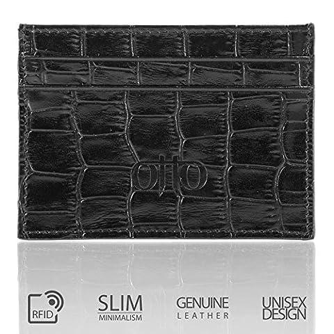 OTTO Slim portefeuille de carte en cuir véritable pour les hommes - plusieurs emplacements pour licence de crédit, débit, Banque et cartes de visite (ModèleNoir)