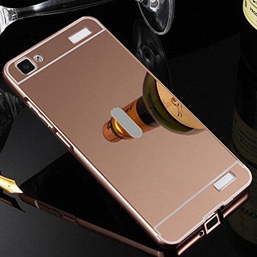 AE (TM) Luxury Metal Bumper + Acrylic Mirror Back Cover Case For VIVO V1 ROSE GOLD