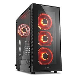 Sharkoon TG5 PC-Gehäuse (mit Seitenfenster und Frontblende aus gehärtetem Glas, 2x USB 3.0, 2x USB 2.0, 4x 120 mm LED-Lüfter) rot