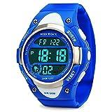 Digitale Sport-Armbanduhr, Jungen Kinder Outdoor Wasserdicht elektronische Uhren Mädchen LED Alarm Stoppuhr–Blau
