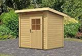 Karibu Woodfeeling Gartenhaus Kulpin 2 natur 28 mm Außenmaß (B x T): 204 x 173 cm Dachstand (B x T): 234 x 197 cm Wandstärke: 28 mm umbauter Raum: 7,0 cbm Bauweise: Systembauweise Ausführung: naturbelassen