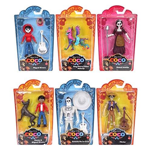Disney pixar - coco set completo di personaggi in scala originali mattel fly79