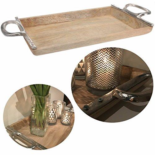 LS-Design XL Mango Holz-Tablett Serviertablett 48cm Alu Griff Betttisch Betttablett Vintage