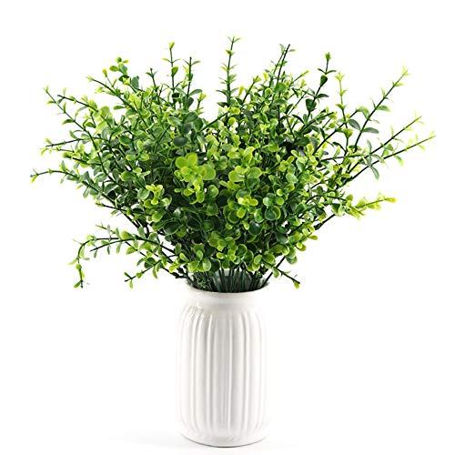 Yunuo Künstliche Grasblätter, 7 Gabeln, Kunststoff, Grün, für Heimdekoration und Büro 13.8 inch 02
