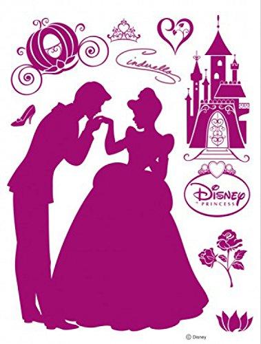 (1art1 75279 Disney Prinzessin - Prinz Und Schloss, Samt-Sticker Wand-Tattoo Aufkleber Poster-Sticker 85 x 65 cm)