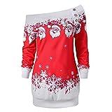 serliyDamen Weihnachtsbluse, Frauen Mädchen Frohe Weihnachten Santa Snowflake Print Tops Langarm Lange Bluse Off Schulter Sweatshirt Pullover
