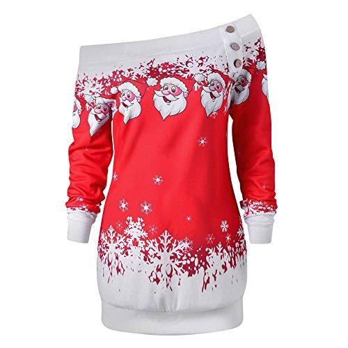 Riou Weihnachtskleid Pulloverkleid Damen Herbst Langarm Schneeflock Lang Gedruck Knielang Hoodie Sweatshirt Blouse Kleider (L, Rot ()