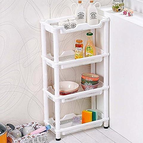TaoHaoHuo Carrito de almacenamiento para esquina de baño o cocina (resistente a la corrosión, 4 estantes)
