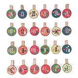 Adventskalender-Holzklammern, 24 Set, Holzklammern mit schönen Motiven für den individuellen Adventskalender