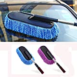 HOME CUBE Microfiber Duster Interior Cleaner with Long Retractable Handle Car Clean Tool (Random Colour)