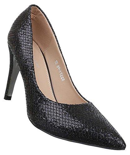 Damen Pumps Schuhe High Heels Stiletto Abendschuhe Schwarz Gold Silber 36-40 Schwarz