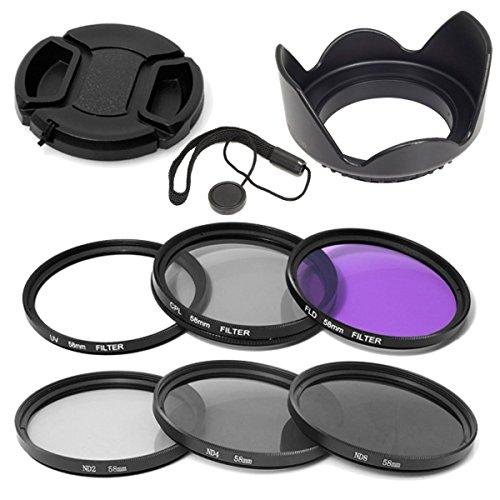 Elfenstall 10 teiliges Set Filterset UV CPL ND Filter Gegenlichtblende Halter 58mm für Canon EOS Canon EOS Rebel XSi T4i T3i 70D 60D 700D 650D 1100D 1000D 600D 50D 550D 1DX 5D Mark 5D2 5D3 6 Rebel XSi T4i T3i - für Kameras von Nikon Canon Sigma Tamron Sony Minolta Olympus mit Aufbewahrungstasche für die Filter