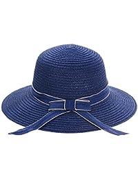 JUNERAIN Donna Cappello di Paglia Junerian Donna Nastro Fiocco Tesa Panama  Cappello Rotondo Top da Viaggio Spiaggia paglietta Sun… a7c5821c38b2