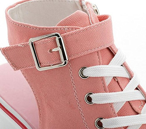 Wealsex Baskets Mode Compensée Chaussure De Sport Sneakers Chaussures Casual Toile Sandales Bout Ouvert Boucle Lacets grande taille 35-41 Femme Rose