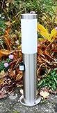 Außenleuchte / Außenlampe / Standlampe / Standleuchte / Wegeleuchte / Weglampe / Hoflampe / Hofleuchte / Gartenlampe / Gartenleuchte / Gartenbeleuchtung aus Edelstahl mit Infrarot-Bewegungsmelder, Höhe 45cm