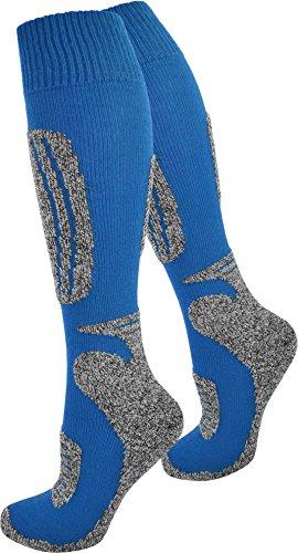 normani 3 Paar warme Skisocken/Funktionsstrümpfe mit Naturfaseranteilen die weder kratzen noch verfilzen Farbe Blau/Grau Größe 43/46