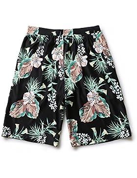 HAIYOUVK Couple Beach Holiday Beach Pants Male Xl Quick-Drying Boxer Short Spa Shorts,Xxl,Black Print,Xxl,Black...