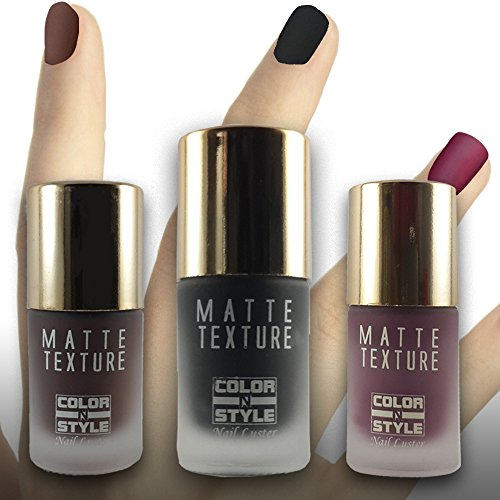 COLOR N STYLE MATTE TEXTURE SET BLACK, BROWN & WINE