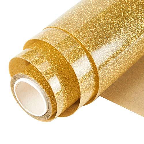 Topmail Glitzer Transferpapier Vinylfolien 160x25cm T-Shirt Folie Transferfolie zur Heißübertragung und Aufbügeln für Dakoration Basteln auf Bekleidung Vlies Leder, Verschiedene Farben (Gold)