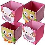 TE-Trend 4 Stück Textil Faltbox Spielbox Tiermotive Schaf Lamm Eule Aufbewahrung Truhe für Spielzeug faltbar 28 x 28 x 28 cm
