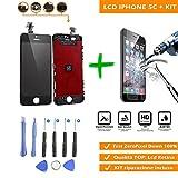 Display iPhone 5c Nero (4') LCD Touch Screen NUOVO e COMPLETO con FRAME + KIT Strumenti di Riparazione + Pellicola di Protezione in Vetro Temperato, Schermo di Ricambio, Sostituzione Digitizer Assembly (Black)