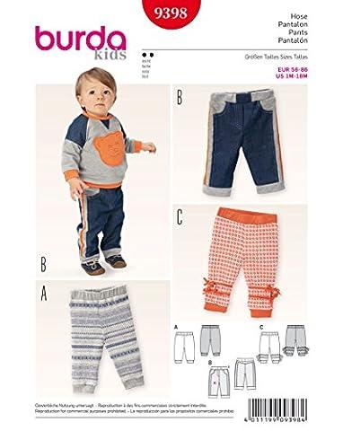 Burda 9398 Schnittmuster Hose (Baby, Gr. 56 - 86) Level 2 leicht