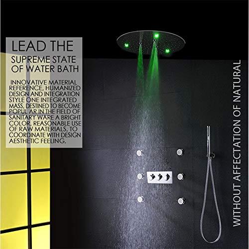 Preisvergleich Produktbild BTSSA Duschsystem, Ultradünne 50 cm Runde, LED-Farbbadezimmerset,  Hotel,  Villa,  Familie
