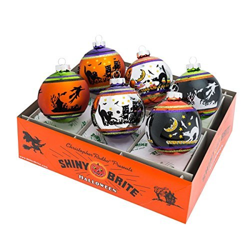 Shiny Brite Halloween Signature Flocked Ombre Ornaments - Set of Six by Shiny Brite